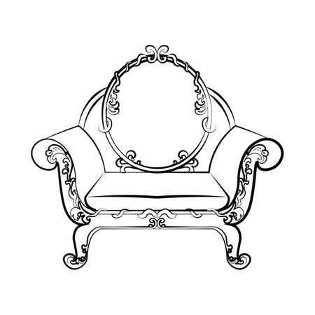 Klasyczny fotel królewski z akantowymi kwiatowymi ornamentami. Szkic wektor