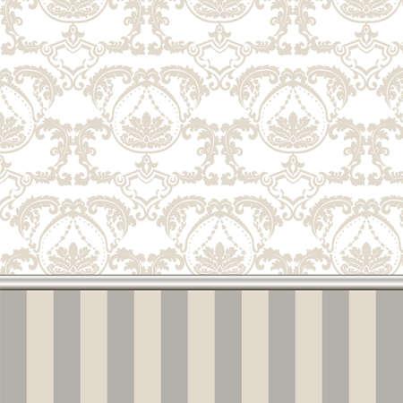 Damasco reale ornamento in stile vintage vittoriano inglese. Stampaggio di confine e strisce. tessitura di lusso per carta da parati, partecipazioni di nozze, biglietti di auguri, sfondi. colori oro beige. Vettore Archivio Fotografico - 58420892