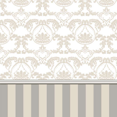 Damask Royal ornament pattern in English vintage Victorian style. Molding border and stripes. Luxury texture for wallpaper, wedding invitations, greeting cards, backgrounds. Gold Beige colors. Vector