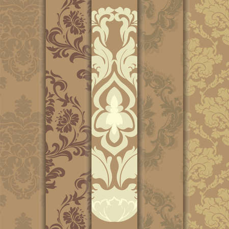 Floral ornament pattern set with stylized centered lilies flowers. Elegant luxury texture for wallpapers, backgrounds and invitation cards. Trendy colors. Vector Vector Illustration