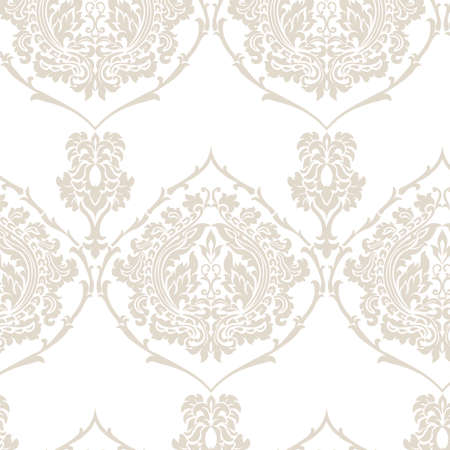 Damask Royal ornament pattern in English vintage Victorian style. Luxury texture for wallpapers, fabric, textile, design, wedding invitations, greeting cards, background. Golden Beige colors. Vector