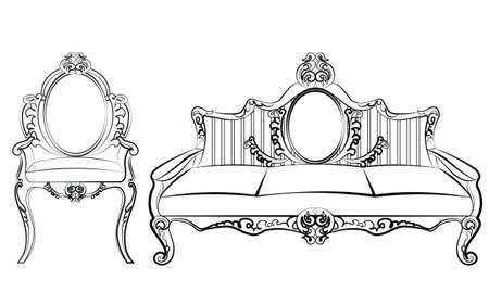 baroque furniture: Chair and Sofa furniture set with luxurious ornament Baroque style. Vector sketch Illustration
