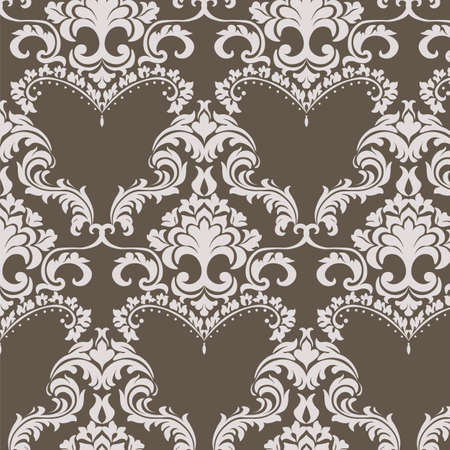 Vector Vintage Damask Pattern ornament in Classic style. Ornate floral element for fabric, textile, design, wedding invitations, greeting cards, wallpaper. Brown color Vector Illustration