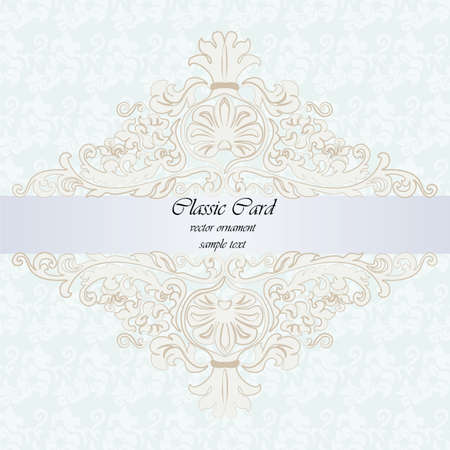 Classic rococo ornament design card for weddings, ceremonies, invitations or birthday parties. Golden engraving frame border. Antique style acanthus decor. Blue background. Vector