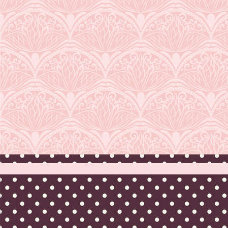 text pink: Lace ornament pattern with vintage dotted border. Place for text. Pink rose quartz color. Vector Illustration