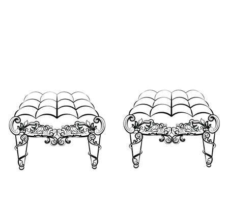 rococo style: Chair Furniture in classic rococo style ornament. Vector sketch Illustration