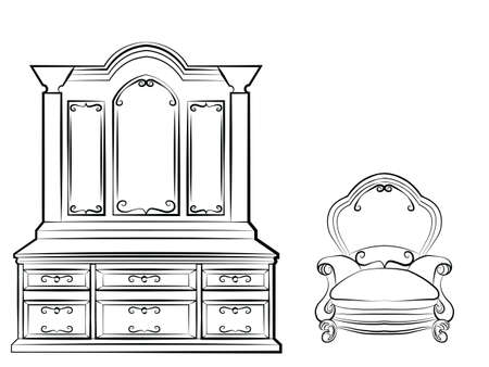 console table: Dressing table Ornamented mirror furniture and armchair set. Vector