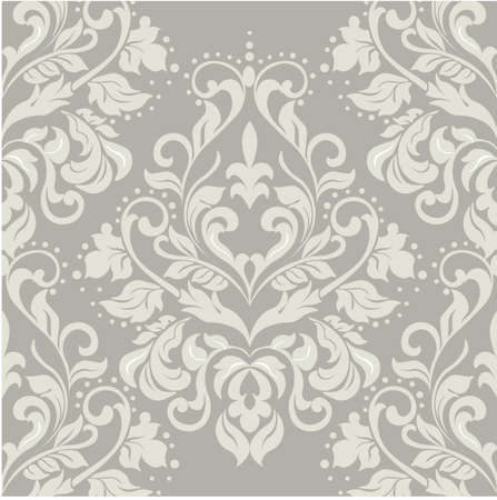 Vector floral damask ornament pattern. Elegant luxury texture for textile, fabrics or wallpapers backgrounds. Taupe color
