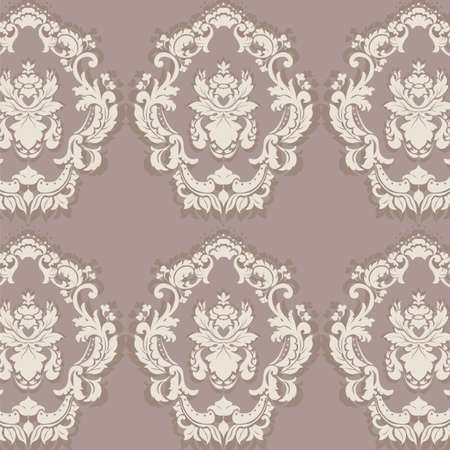 sphinx: Floral ornament pattern with stylized centered lilies flowers. Elegant luxury texture for wallpapers, backgrounds and invitation cards. Sphinx taupe color. Vector