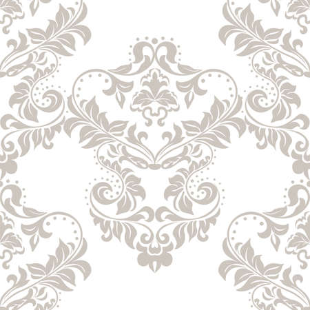 taupe: Vector floral damask ornament pattern. Stylized lily flower. Elegant luxury texture for textile, fabrics or wallpapers backgrounds. Taupe color