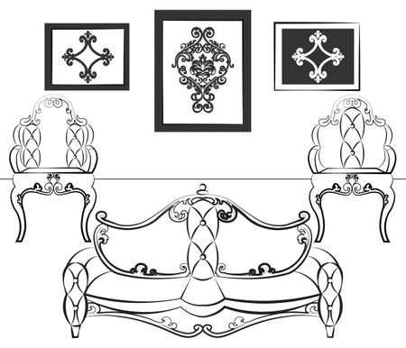 neoclassic: Elegant Interior set with leather furniture, ornamented in neoclassic style. Vector