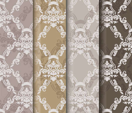 Floral ornament damask patterns collection. Elegant luxury textures for wallpapers, backgrounds and invitation cards. Trendy color pallet. Vector
