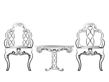 Elegant Table And Chairs Furniture Set Quilted With Leather, Ornamented In  Neoclassic Style. Vector