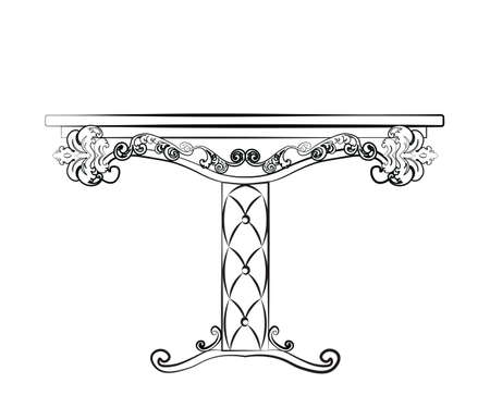 neoclassic: Elegant Table furniture quilted with leather, ornamented in neoclassic style. Vector Illustration