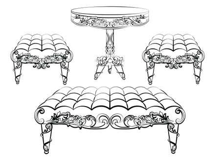 rococo style: Furniture in classic rococo style ornament. Vector sketch