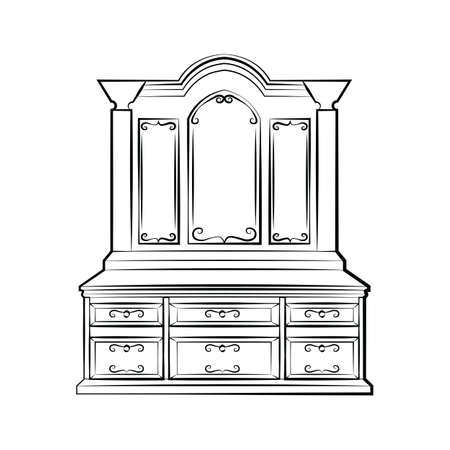 ornamented: Dressing table Ornamented mirror furniture. Vector