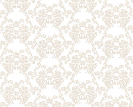 neoclassical: Vintage elegant lily flower ornament multiple pattern. Luxury texture for wallpapers, backgrounds and invitation cards. White and beige colors. Vector Illustration
