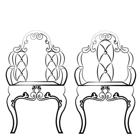 neoclassic: Elegant Leather quilted chairs with ornaments in neoclassic style. Vector Illustration