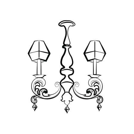 Classic Crystal lampe de style de luxe avec acanthe ornements et diamants floraux. Vecteur