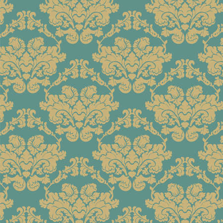 Vintage Damask elegant flower ornament pattern. Luxury texture for wallpapers, backgrounds and invitation cards. Green and beige colors. Vector