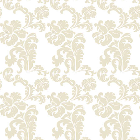 Vintage elegant lily flower ornament pattern. Luxury texture for wallpapers, backgrounds and invitation cards. White and beige colors. Vector Vector Illustration