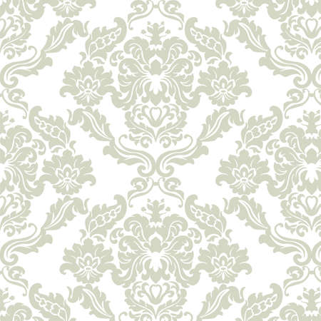 Floral ornament pattern with stylized lilies flowers . Elegant luxury texture for wallpapers, backgrounds and invitation cards. Green olive color and white. Vector