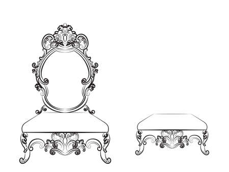 baroque furniture: Baroque Luxurious style furniture. Rich table chair and bench set with rich acanthus ornaments. Vector sketch