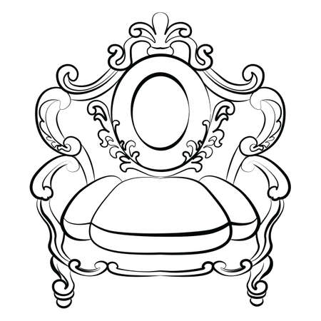 rococo: Royal Armchair set in Baroque Rococo style with damask luxurious ornaments. Vector