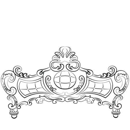 piece of furniture: Sofa furniture front luxurious ornament in baroque style. Vector