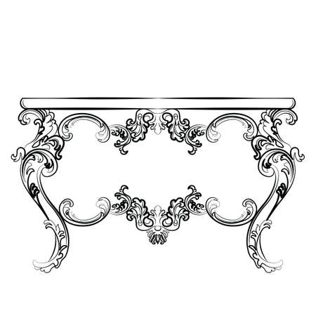 baroque room: Royal table in Baroque Rococo Baroque style with damask luxurious ornaments. Vector Illustration