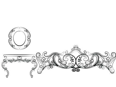 luxury furniture: Baroque Luxury style furniture. Elegant table set with rich ornaments. Vector sketch