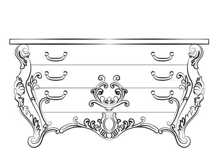 luxury furniture: Baroque Imperial luxury style furniture. Commode table with drawers set with luxurious rich ornaments. Vector sketch Illustration