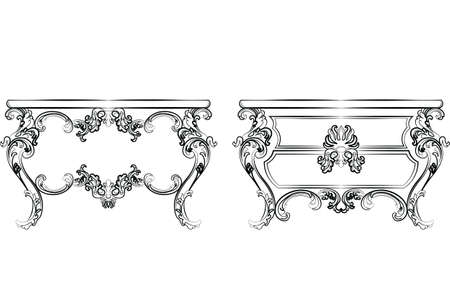 dinning table: Baroque Imperial luxury style furniture. Dressing table set with luxurious rich ornaments. Vector sketch Illustration
