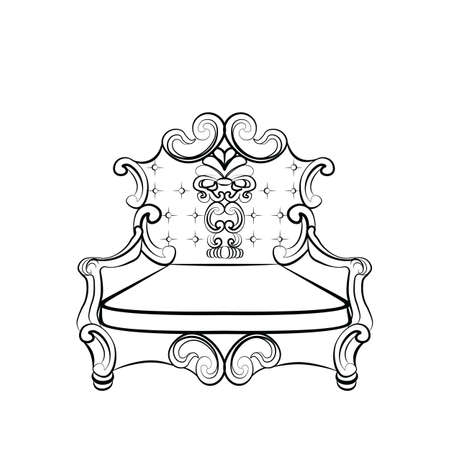 rococo: Royal Imperial Armchair in Rococo style with damask luxurious ornaments. Vector Illustration