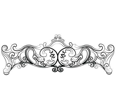 rococo: Royal Sofa in Rococo style with damask luxurious ornaments. Vector Illustration