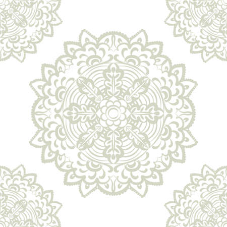 lint: Vector floral round element in Eastern style. Ornamental lace pattern for wedding invitations and greeting cards, wallpaper, backgrounds, fabrics, textile. Lint green color Illustration