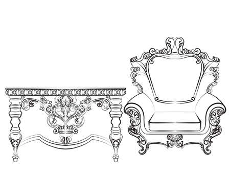 baroque room: Baroque Imperial style furniture. Wood table and armchair set with luxurious ornaments. Vector sketch Illustration