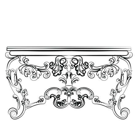 dressing table: Baroque Imperial luxury style furniture. Dressing table and mirror set with luxurious rich ornaments. Vector sketch
