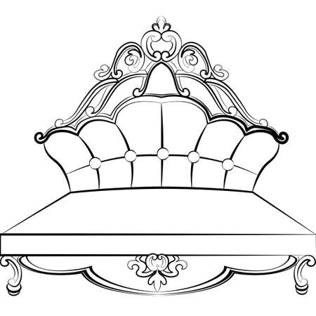 rococo: Royal Sofa in Baroque Rococo style with damask luxurious ornaments. Vector Illustration