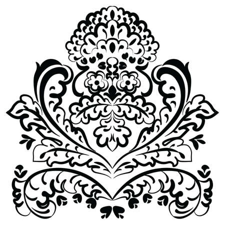 delicate arabic motif: Vector lace floral element in Eastern style. Ornamental lace pattern for wedding invitations and greeting cards, backgrounds, fabrics, textile. Traditional decor. Black Illustration