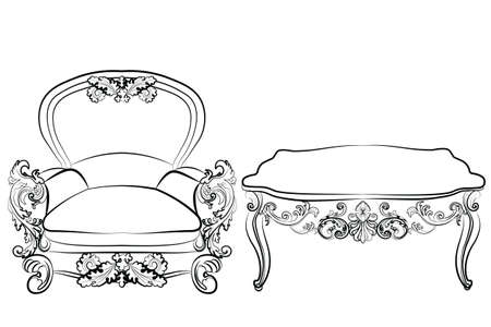 rococo: Royal Armchair and table set in Rococo Baroque style with damask luxurious ornaments. Vector Illustration