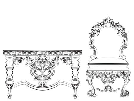 imperial: Baroque Imperial style furniture. Wood table and chair set with luxurious ornaments. Vector sketch