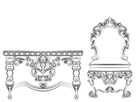 mobili in stile imperiale barocco. Tavolo in legno e sedia con ornamenti di lusso. disegno vettoriale