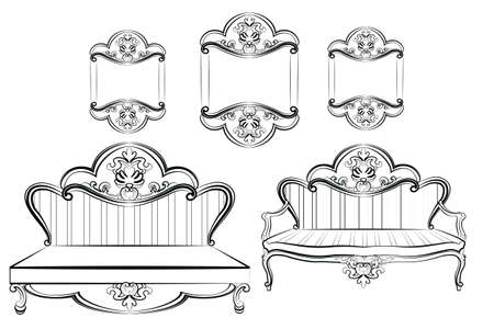 rococo: Royal Sofa and Frames set in Baroque Rococo style with damask luxurious ornaments. Vector