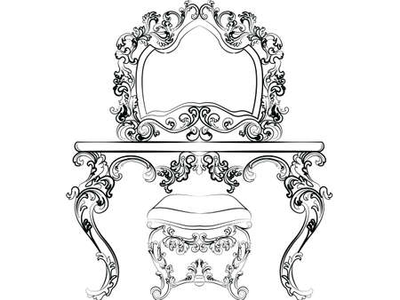dinning table: Baroque Imperial style furniture. Dressing table and mirror set with luxurious rich ornaments. Vector sketch Illustration