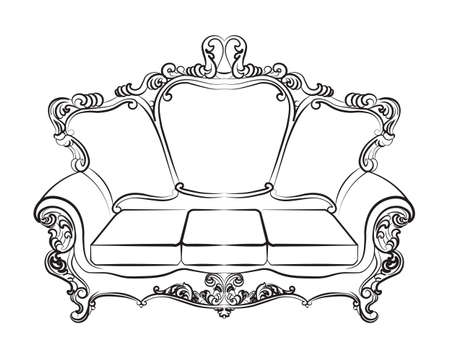 imperial: Baroque Imperial luxury style furniture. Elegant couch set with luxurious rich ornaments. Vector sketch