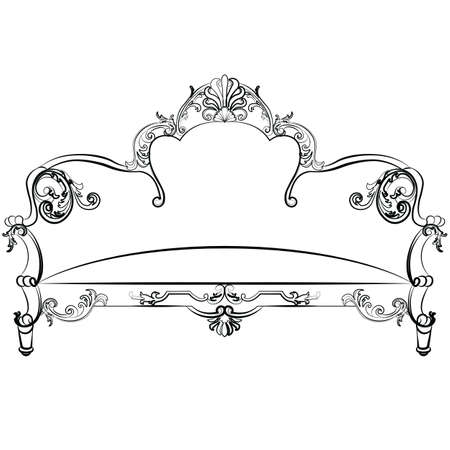 rococo style: Royal Sofa in Rococo style with damask luxurious ornaments. Vector Illustration