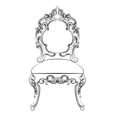 baroque furniture: Baroque Imperial style furniture. Wood table and chair set with luxurious ornaments. Vector sketch