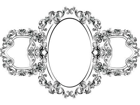 mobilier de style impérial baroque. Miroir cadre serti de riches ornements luxueux. Vector sketch