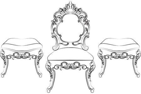 Barocco Rich mobili in stile. Sedia elegante set con ornamenti di lusso. disegno vettoriale